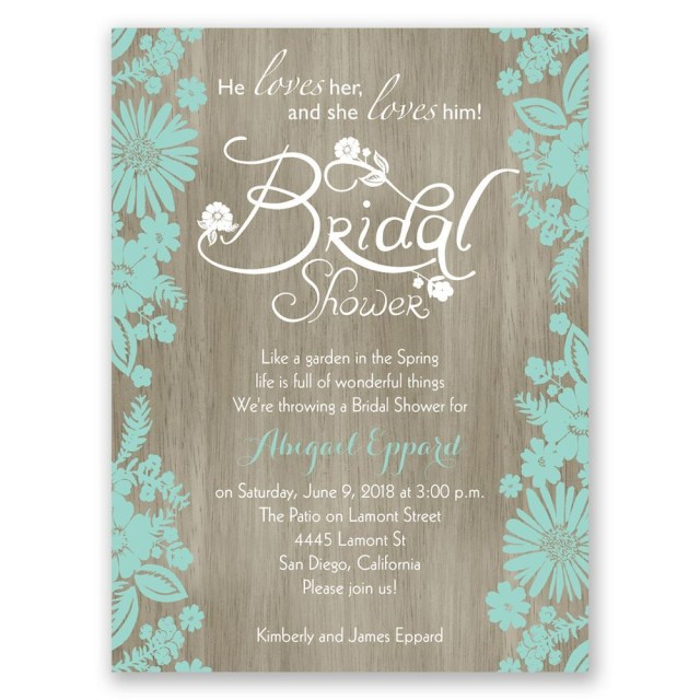 Wedding Shower Invite Flowers And Woodgrain Petite Bridal Shower Invitation Invitations