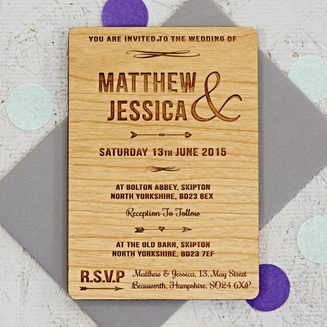 Wood Wedding Invitations Arrow Wooden Wedding Invitation Sophia Victoria Joy