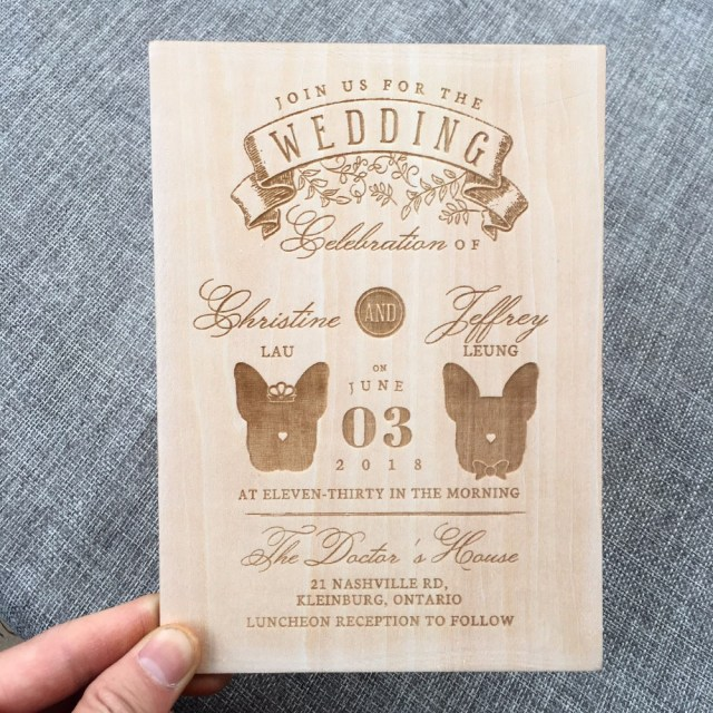Wood Wedding Invitations Personalized Wooden Wedding Invitation For Pet Lover Wedding