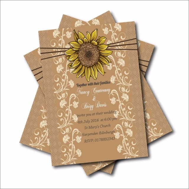 Wood Wedding Invitations Rustic Country Sunflower Wedding Invitations Lace Bridal Shower