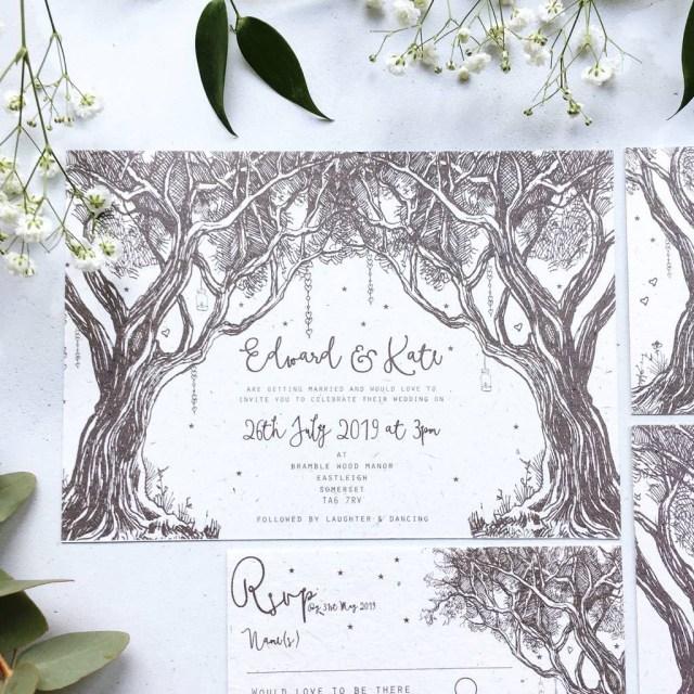Woodland Wedding Invitations Enchanted Woodland Wedding Stationery Summer Lane Studio