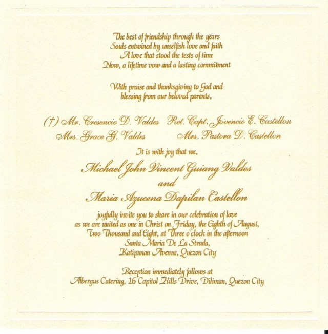 Wording Wedding Invitations Wedding Invitation Wording Examples Marina Gallery Fine Art