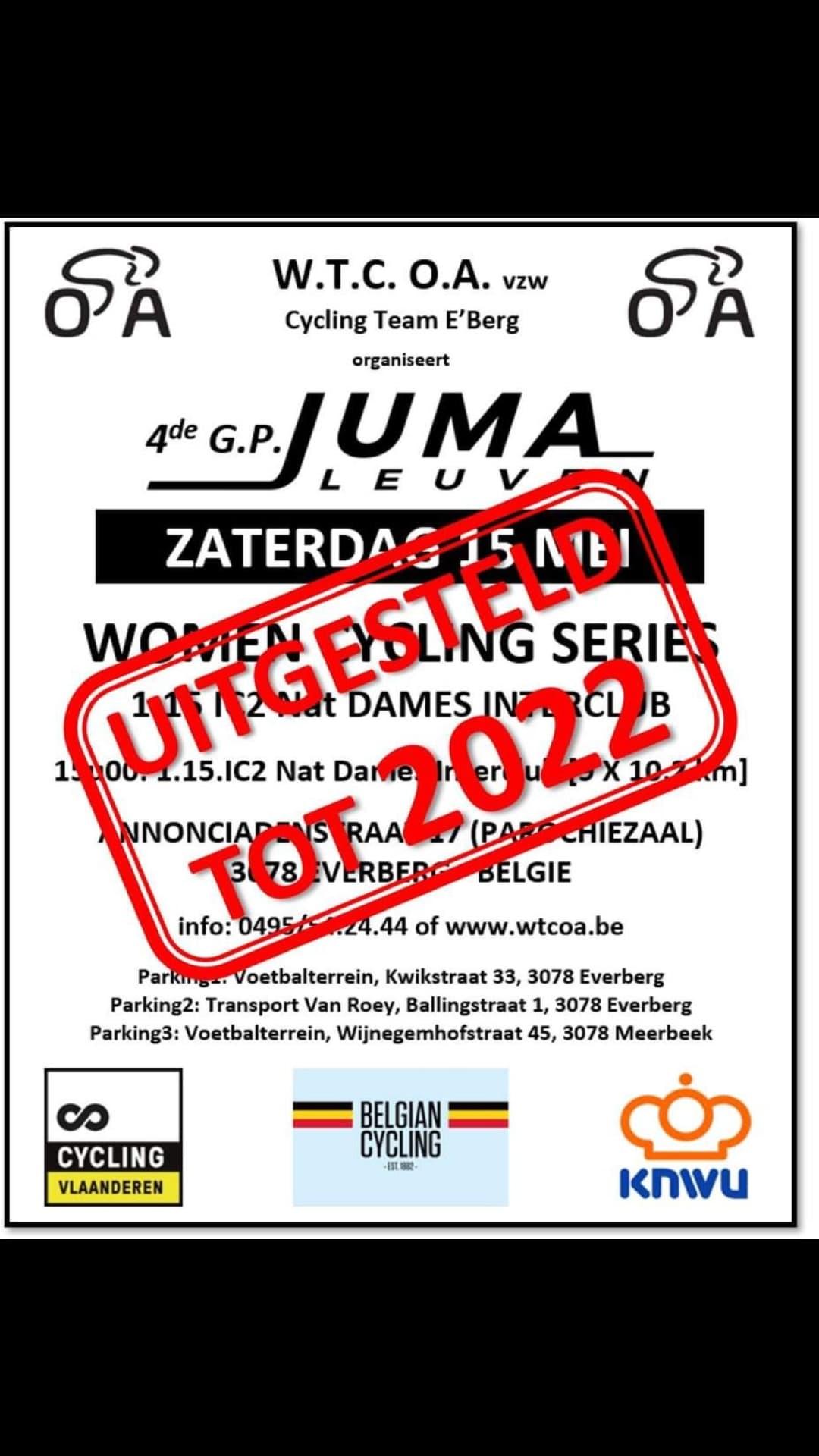 Organisatie vierde editie Grote Prijs Juma in Everberg smijt ook de handdoek