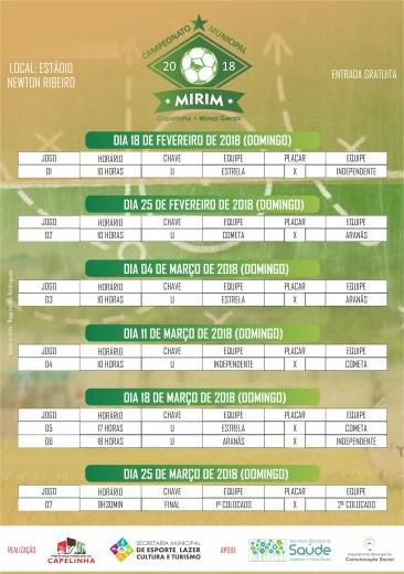 Tabela Campeonato Municipal Mirim