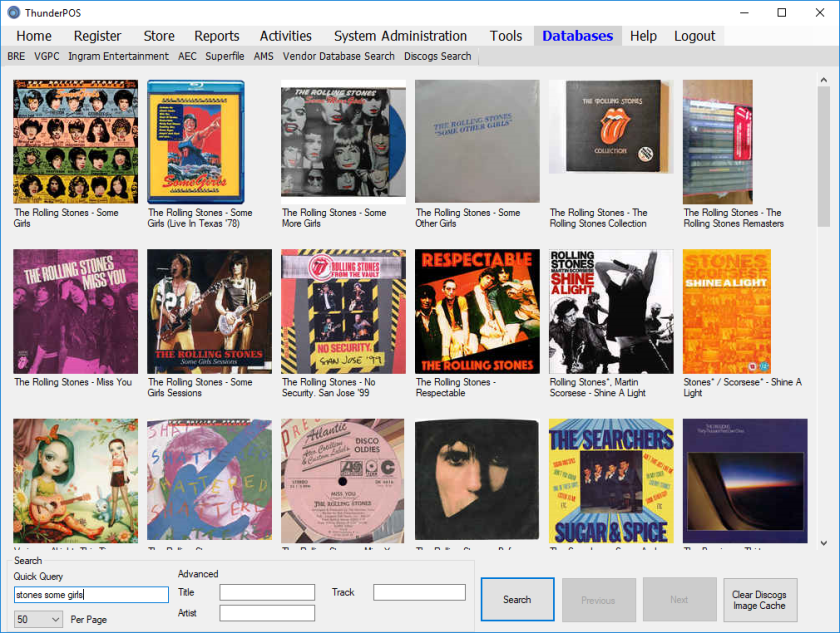 Discogs database graphical searching