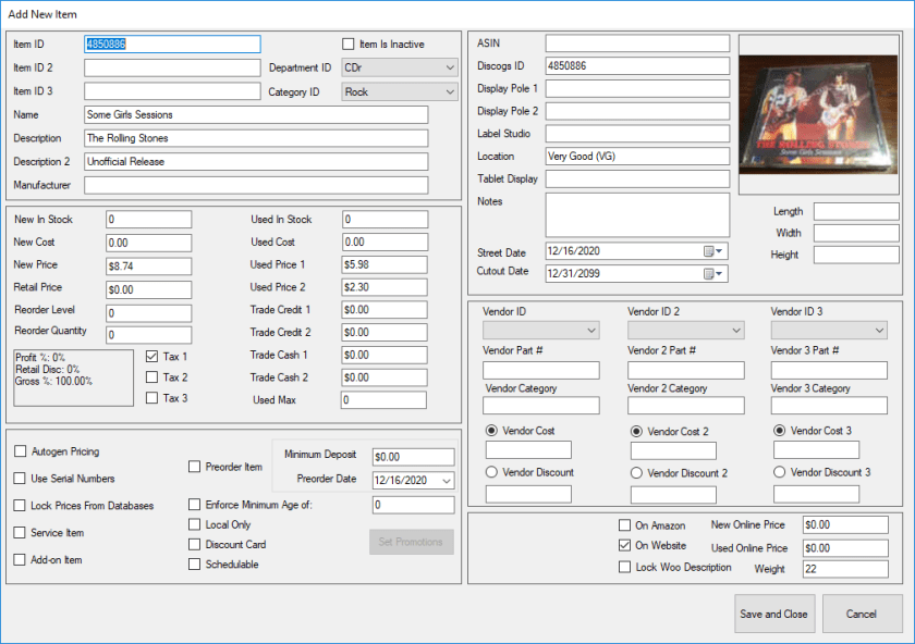 Editing items, including setting a picture