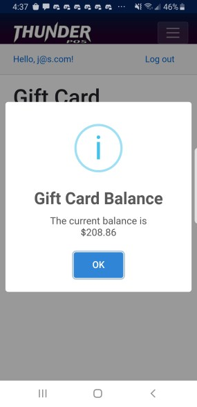 Phone screenshot of the gift card balance