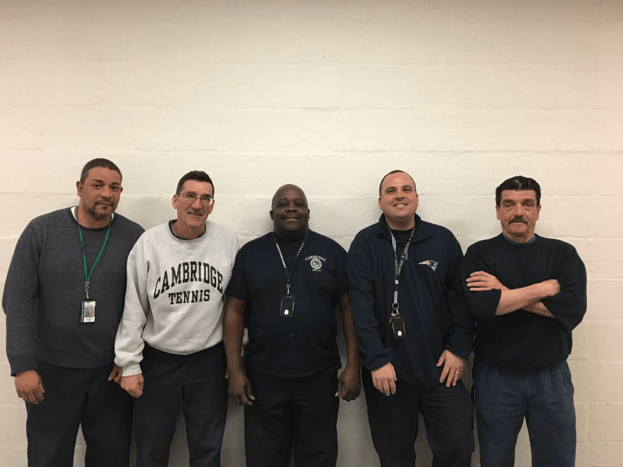 Jose+Brioso+%28left%29%2C+Dave+Nadeau%2C+Claude+Lathan%2C+Robbie+Cataldo%2C+and+Richie+Corcione+are+part+of+the%0Adaytime+custodial+staff.