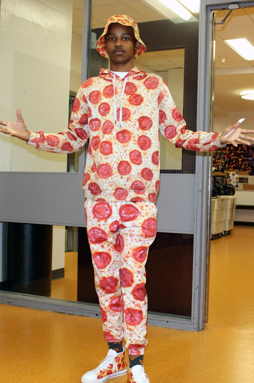 Fritz Duverglas always wears pizza-themed attire.