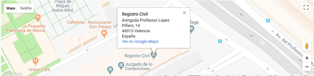 mapa registro civil valencia