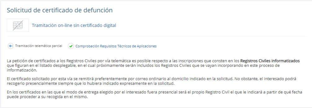 Solicitud Certificado Defunción sin certificado digital