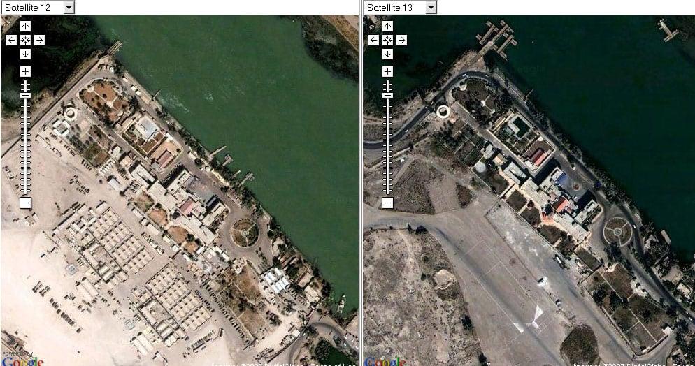 Imágenes de Basora antes y después (Fuente: http://www.theregister.co.uk/2007/01/17/google_erases_brit_bases/page2.html)