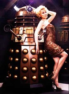 Kylie Minogue with a Dalek to celebrate her appearance in an episode of Dr Who with David Tennant