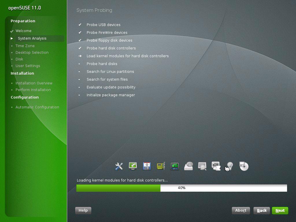 Screenshot de YaST instalando openSUSE