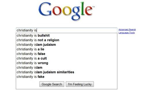 Google Christianity suggest
