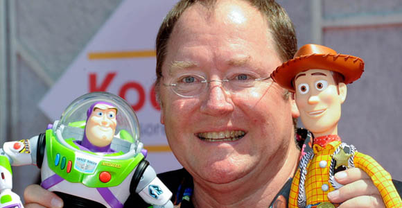 Buzz Lightyear, Pixar's John Lasseter, and Woody
