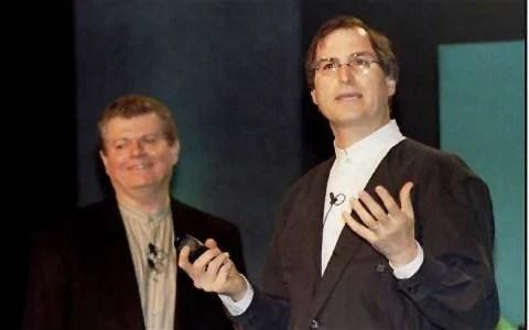 Gil Amelio and Steve Jobs at Macworld Expo 1997