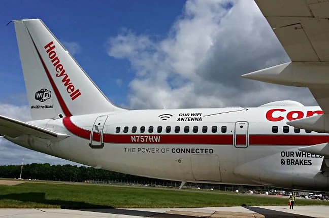 The tail of Honeywell's testbed Boeing 757, complete with blister for Inmarsat satellite Wi-Fi