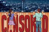 An illustration of two young people looking over a fence on the Internet, with the word
