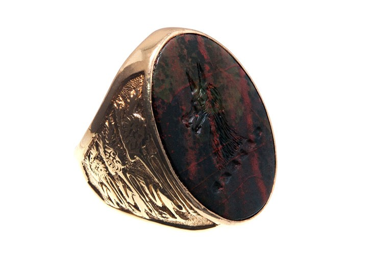 A Bloodstone Wolf Seal Or Signet Ring