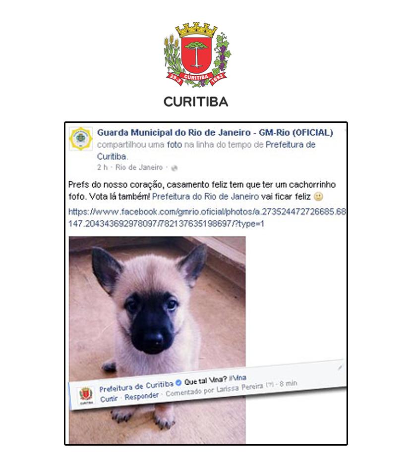Prefeitura de Curitiba tira onda com a Guarda do Rio nas redes sociais
