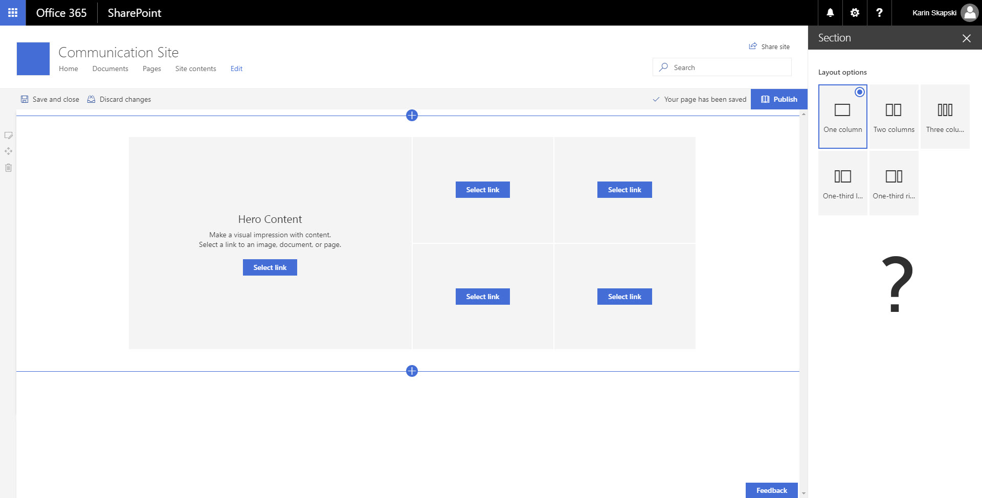 SharePoint Communication Site - Container Layout Options