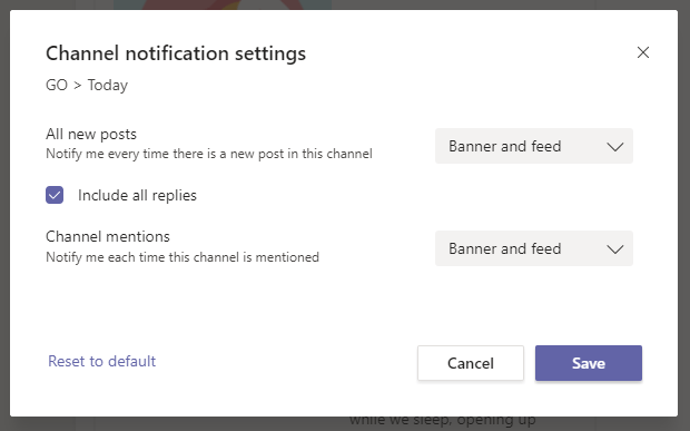 Channel notification settings in Microsoft Teams