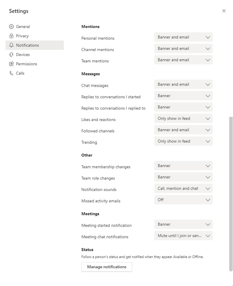 Notifications settings in Microsoft Teams