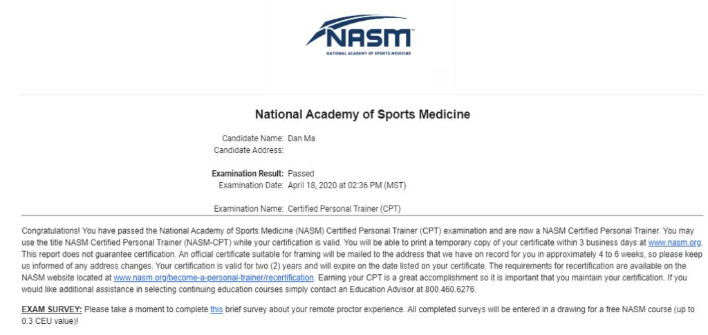 Passing the NASM CPT Exam
