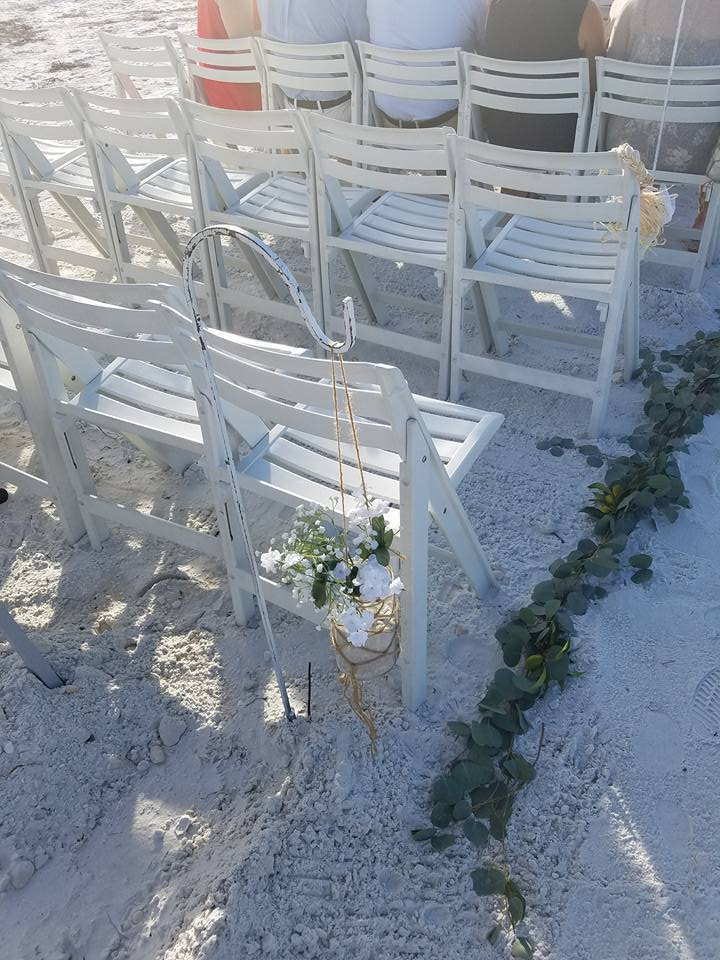 Aisle decorations for a beach wedding.