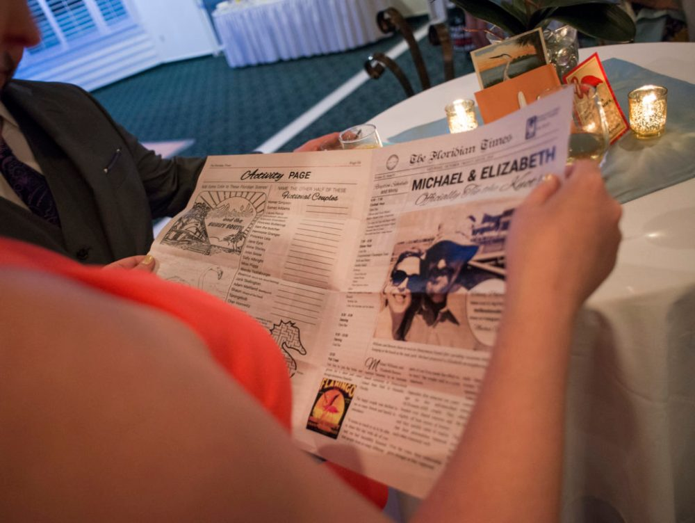 A wedding newspaper instead of a program.