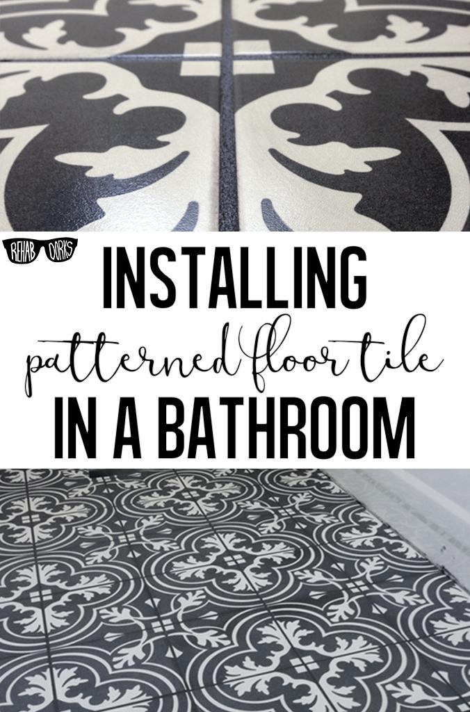 Installing Patterned Encaustic Floor Tile In A Bathroom.