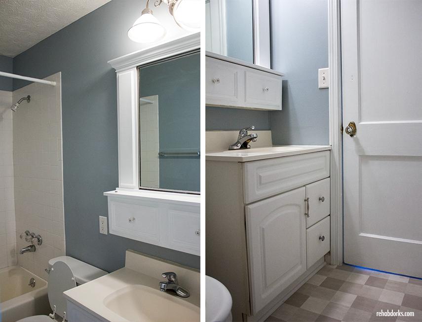 Cute small bathroom in a rental property.