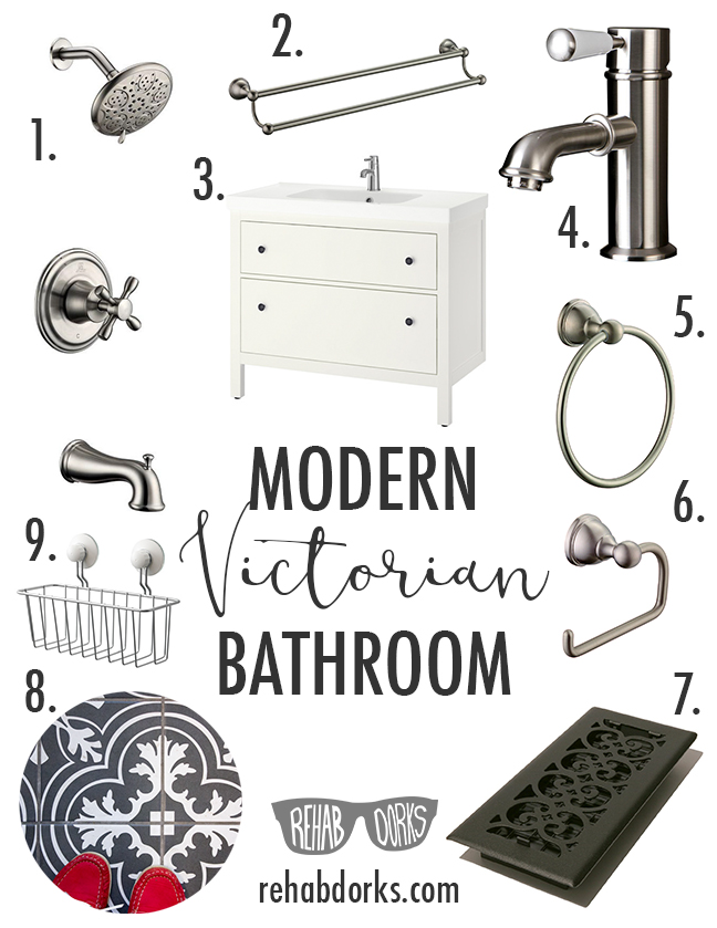 Fixtures for a modern victorian bathroom remodel.