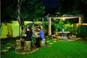 garden at night social scene