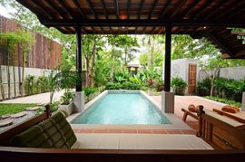 private pool in tropical gardens