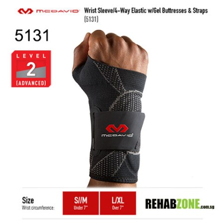 McDavid 5131 Level 2 Wrist Sleeve 4 Way Elastic w Gel Buttresses Straps