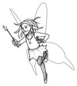 fee avec ailes et baguette magique