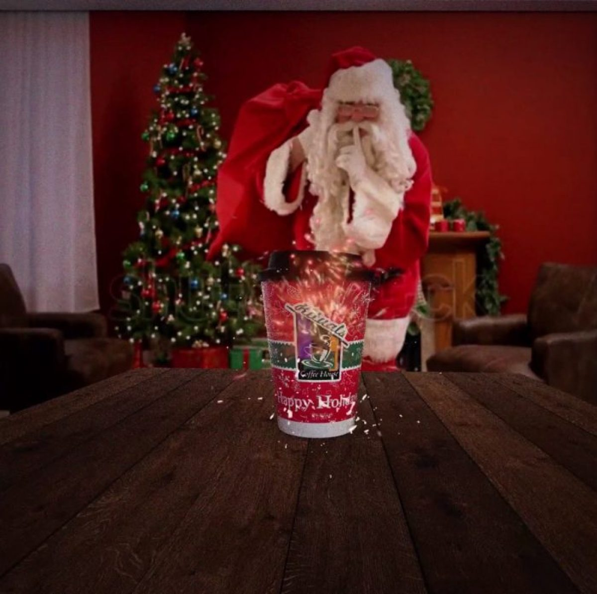 Image of Santa from a screen grab of a video by Rituals Coffee house. There is a watermark of the Shutterstock logo.