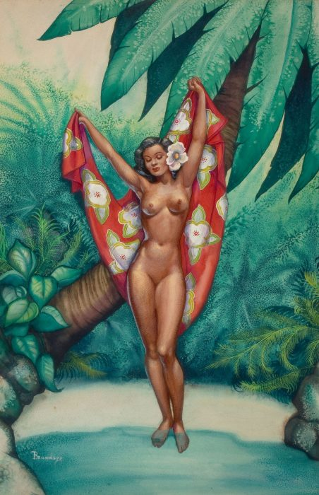 A painting of a nude Hawaiian beauty with a flowered red cloth with a white flower in her hair.