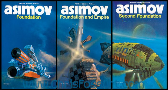 three blue covers from the Panther publication of Asimov's Foundation series. Art by Chris Foss.