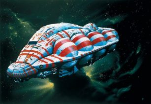 A Chris Foss painting of a blue and red ship with spheres on its side