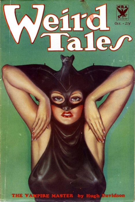 "A cover from Weird Tales pulp magazine done by Margaret Brundage, an artist you should know, titled ""The Vampire Master"". It depicts a woman with red lipstick and a bat for a hat. Yes. a Bat for a hat and mask. Smiley Face."