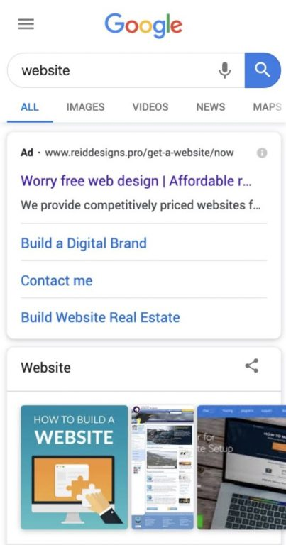 Website google ads ReidDesigns