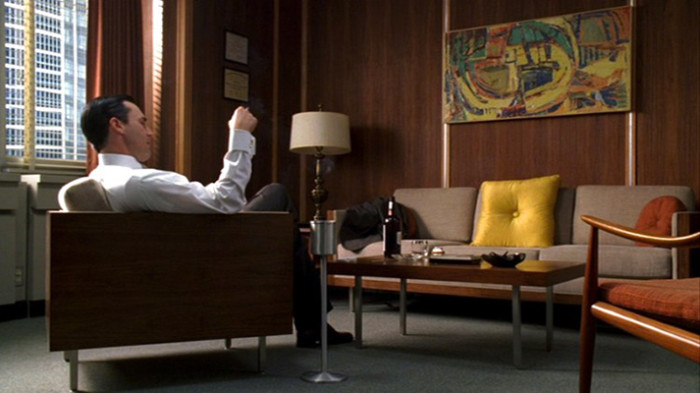 Don Draper in his office. Everyone has gone to self isolate.