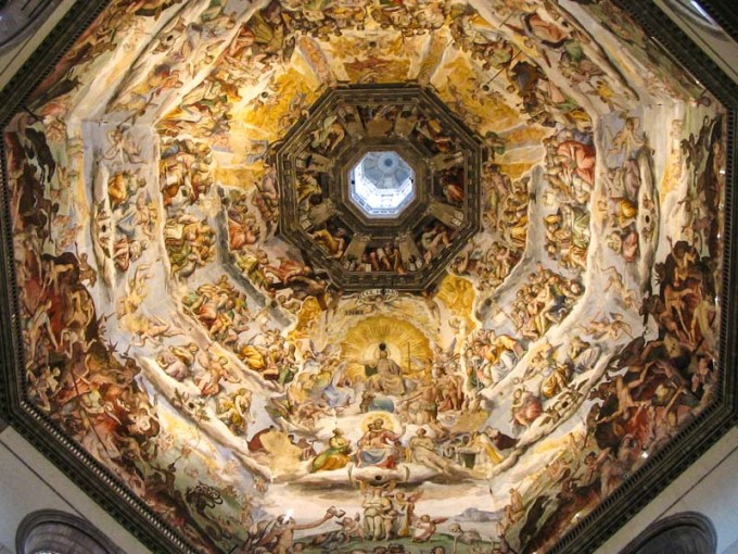 The Duomo  Cathedral  of Florence  Italy The frescoes inside the dome of the Florence Duomo  Cathedral