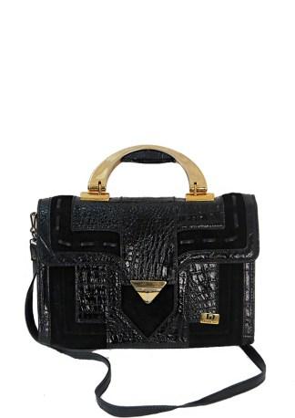 ea3b1e602b76 Black Patent Leather   Suede Handbag with Gold Trim   Detachable Shoulder  Strap