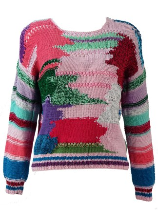 82b46ade31975d Multi Coloured Loose Knit Cotton Jumper with Metallic Highlights – S/M