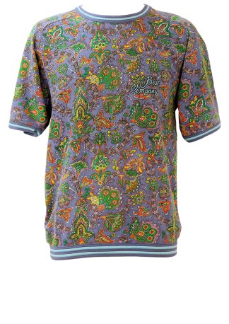 495d305cdbdc Best Company Olmes Carretti Purple Short Sleeve Sweatshirt with Paisley  Pattern – M L