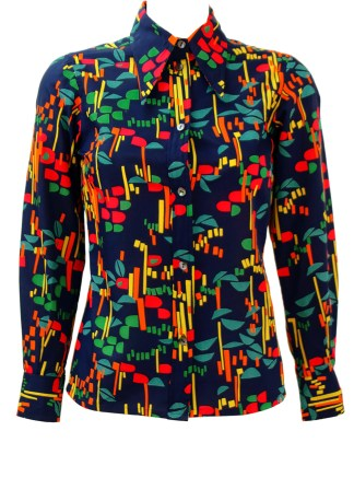 011f6ba8a7a Vintage 70 s Navy Blue Blouse with Multicoloured Abstract Pattern   Dagger  Collar – S